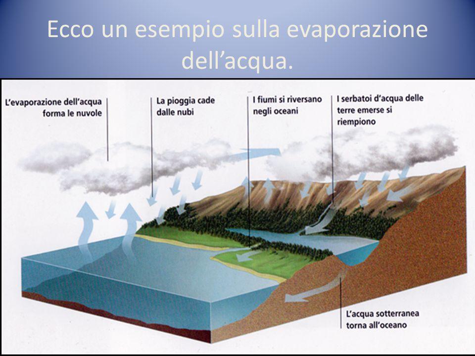 Ecco un esempio sulla evaporazione dell'acqua.