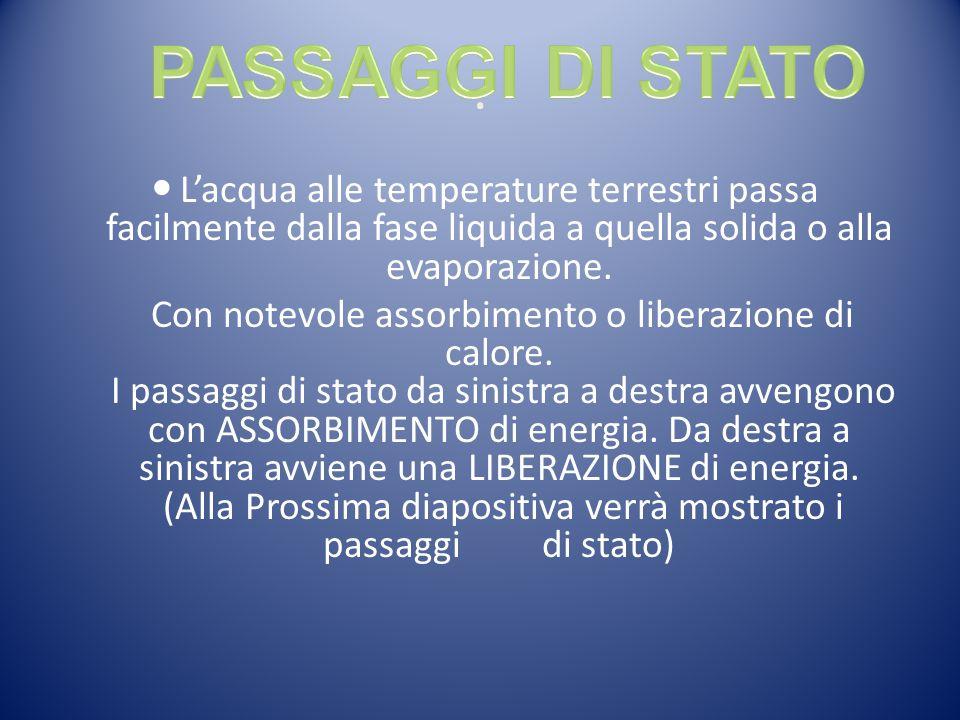 PASSAGGI DI STATO . L'acqua alle temperature terrestri passa facilmente dalla fase liquida a quella solida o alla evaporazione.