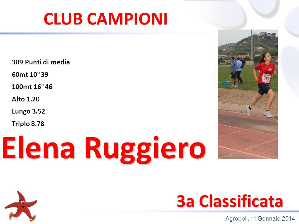 Elena Ruggiero CLUB CAMPIONI 3a Classificata 309 Punti di media