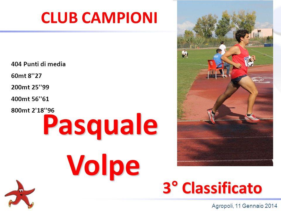 Pasquale Volpe CLUB CAMPIONI 3° Classificato 404 Punti di media