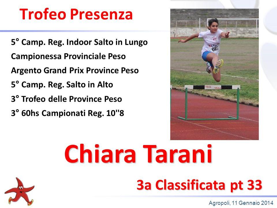 Chiara Tarani Trofeo Presenza 3a Classificata pt 33