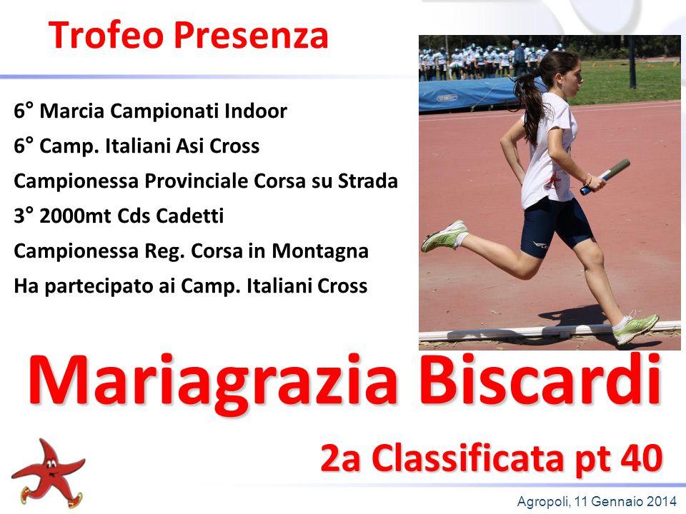 Mariagrazia Biscardi Trofeo Presenza 2a Classificata pt 40