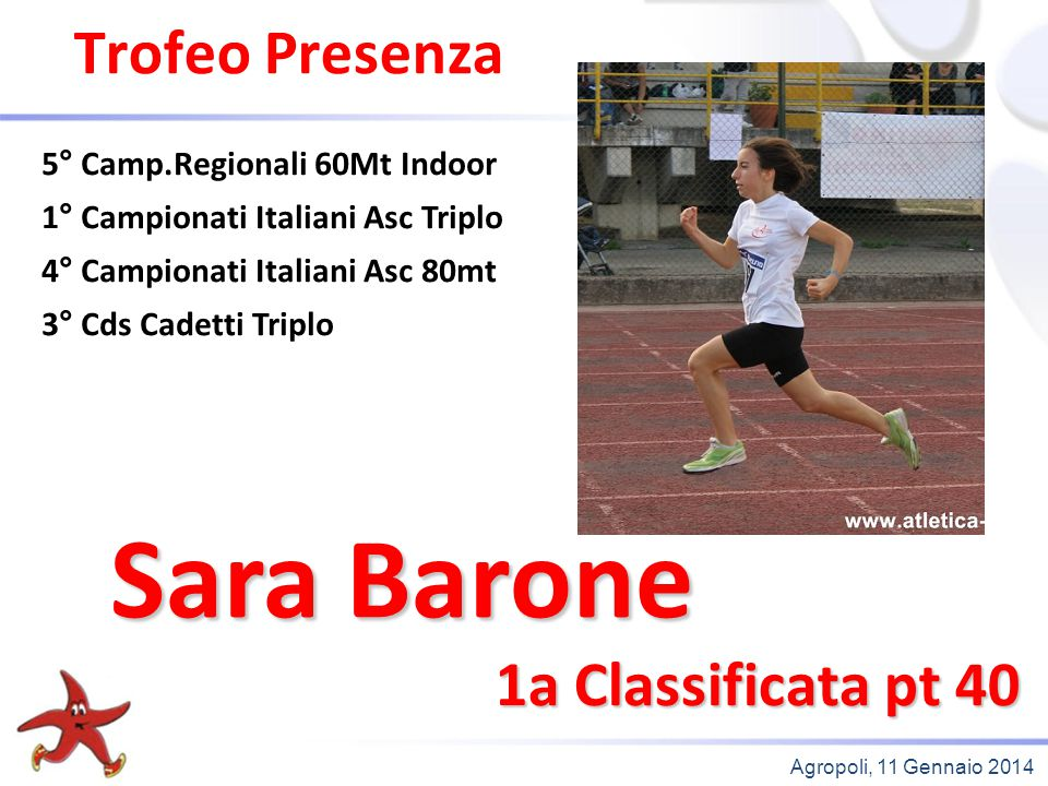 Sara Barone Trofeo Presenza 1a Classificata pt 40