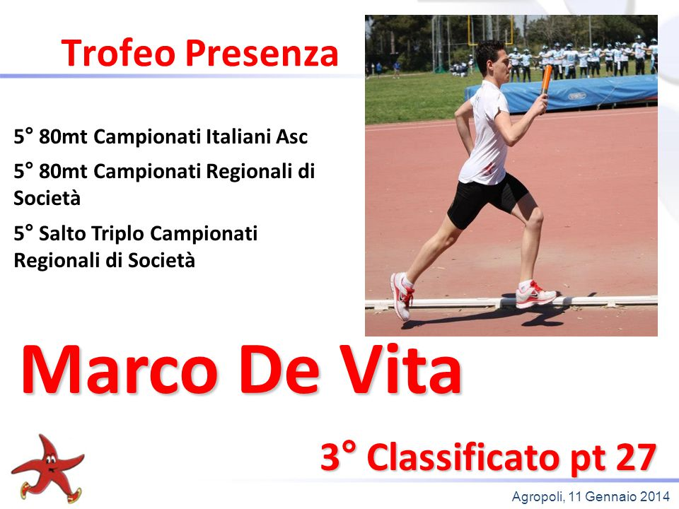Marco De Vita Trofeo Presenza 3° Classificato pt 27