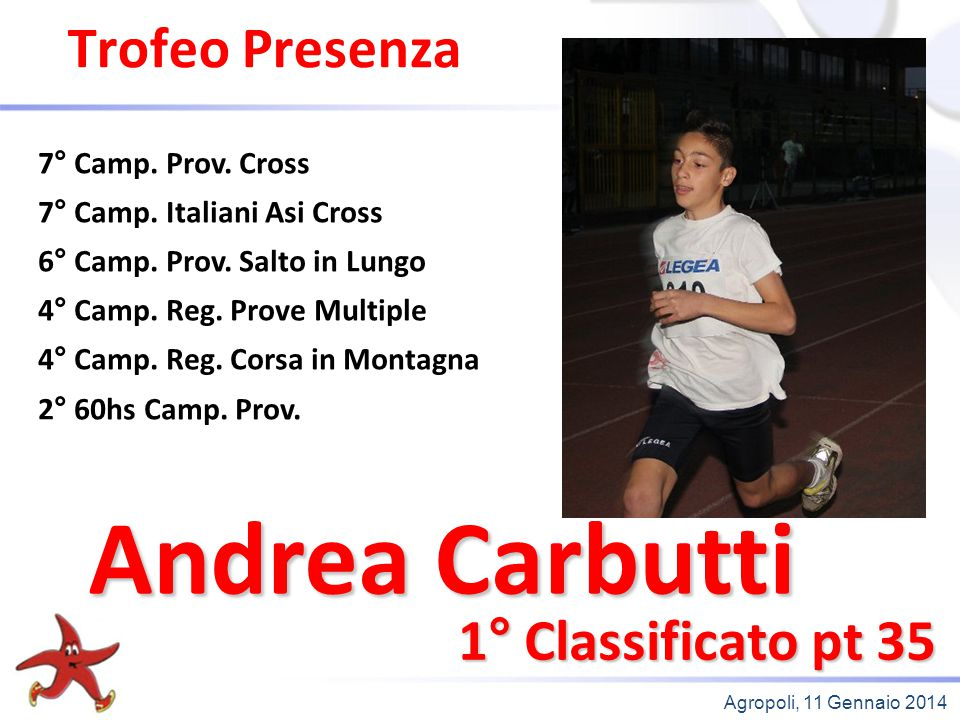 Andrea Carbutti Trofeo Presenza 1° Classificato pt 35