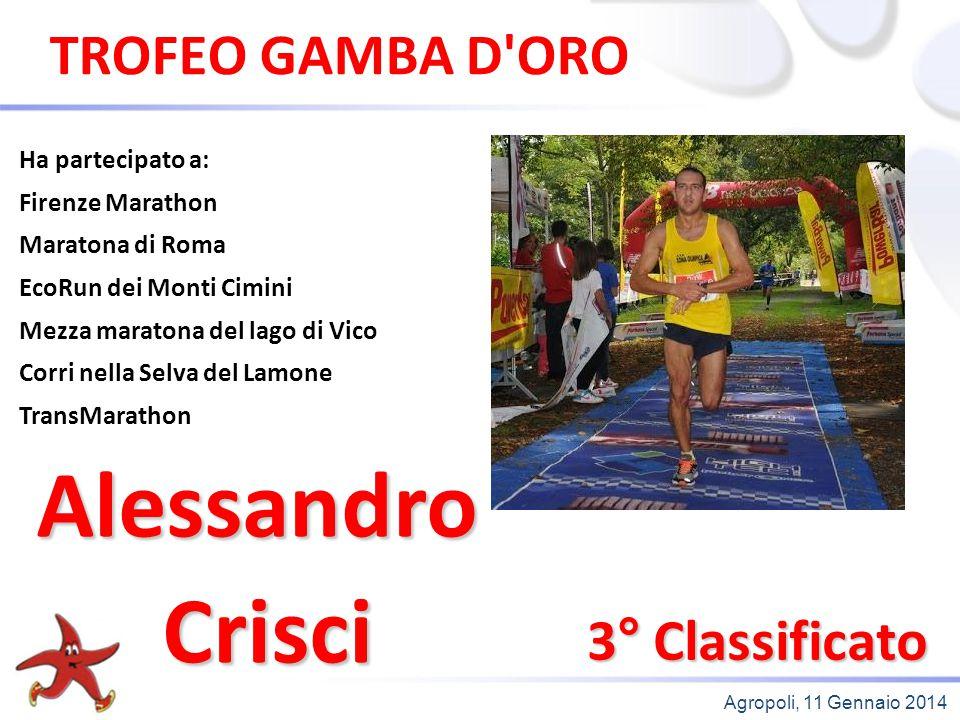 Alessandro Crisci TROFEO GAMBA D ORO 3° Classificato Ha partecipato a: