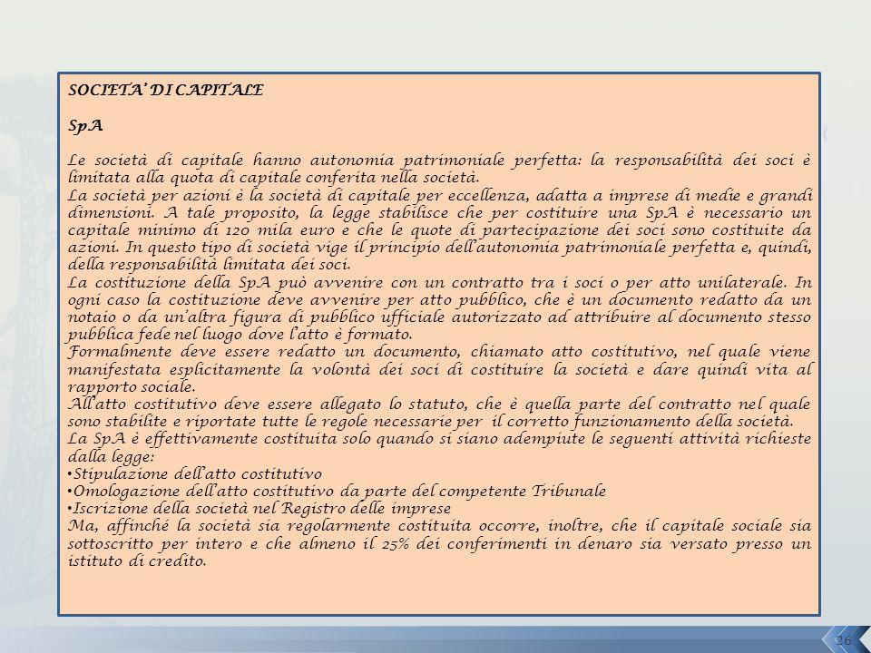 SOCIETA' DI CAPITALE SpA.