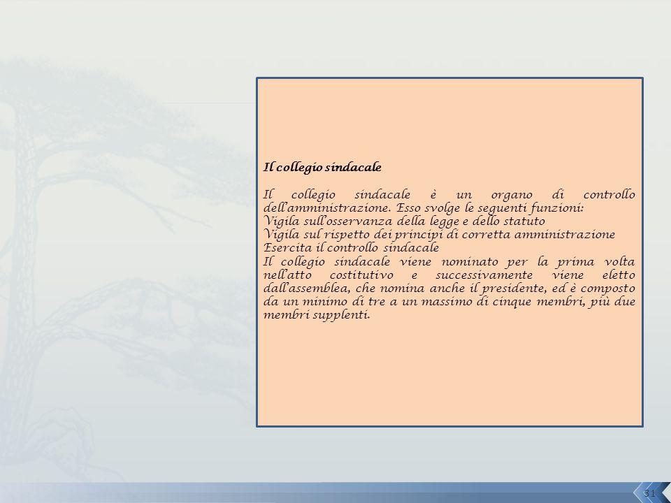 Il collegio sindacale Il collegio sindacale è un organo di controllo dell'amministrazione. Esso svolge le seguenti funzioni: