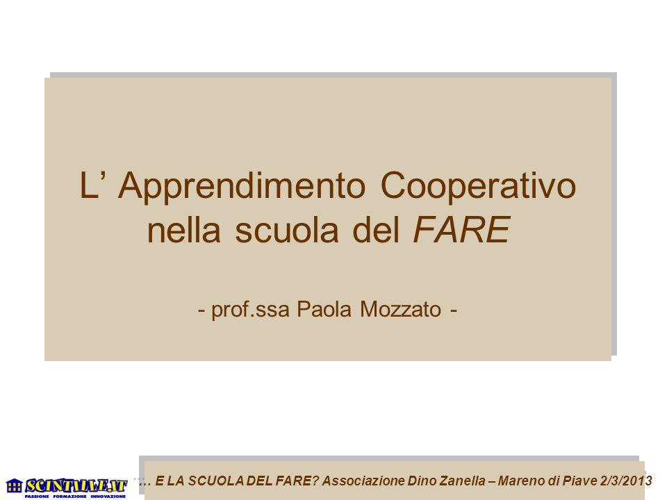 L' Apprendimento Cooperativo nella scuola del FARE - prof
