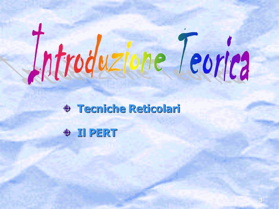 Introduzione Teorica Tecniche Reticolari Il PERT