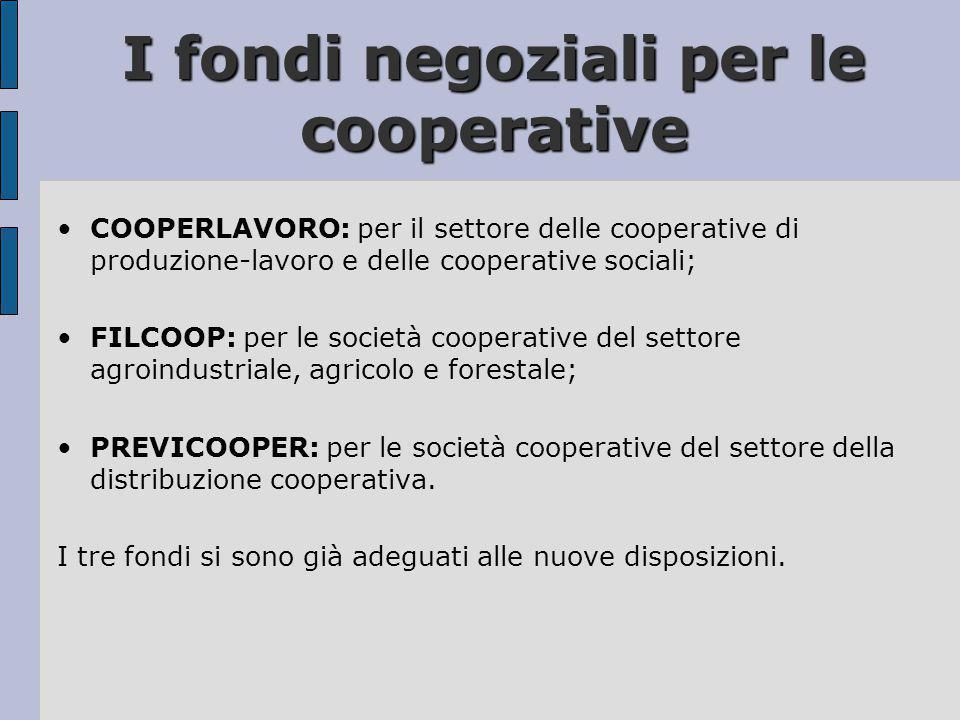 I fondi negoziali per le cooperative
