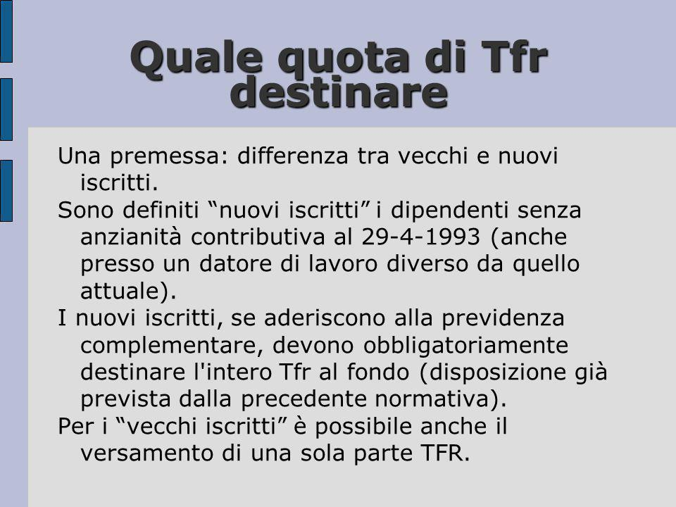 Quale quota di Tfr destinare