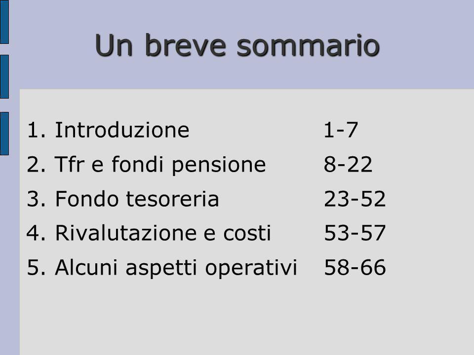 Un breve sommario 1. Introduzione 1-7 2. Tfr e fondi pensione 8-22