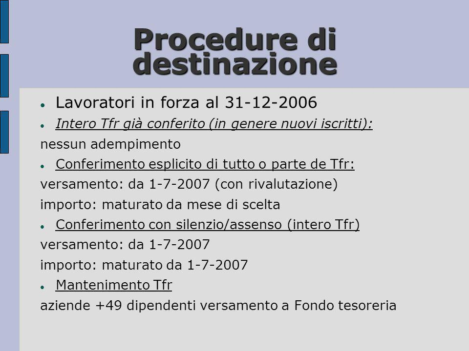 Procedure di destinazione