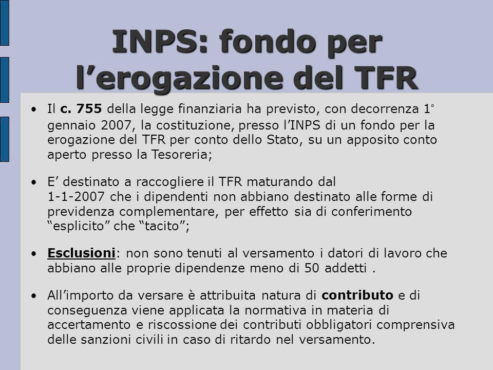 INPS: fondo per l'erogazione del TFR