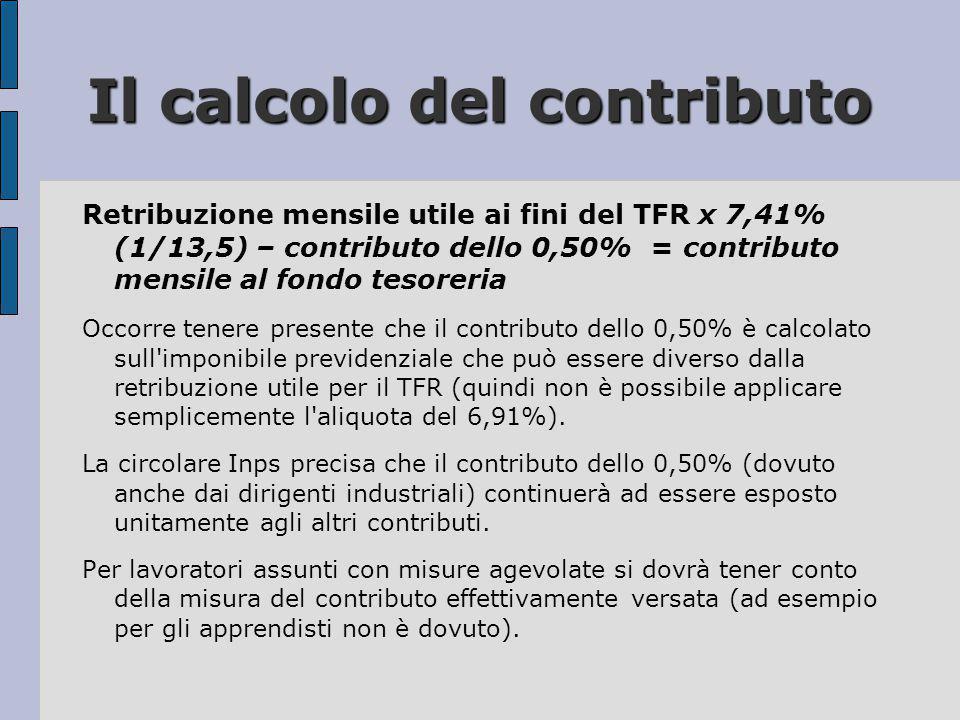 Il calcolo del contributo