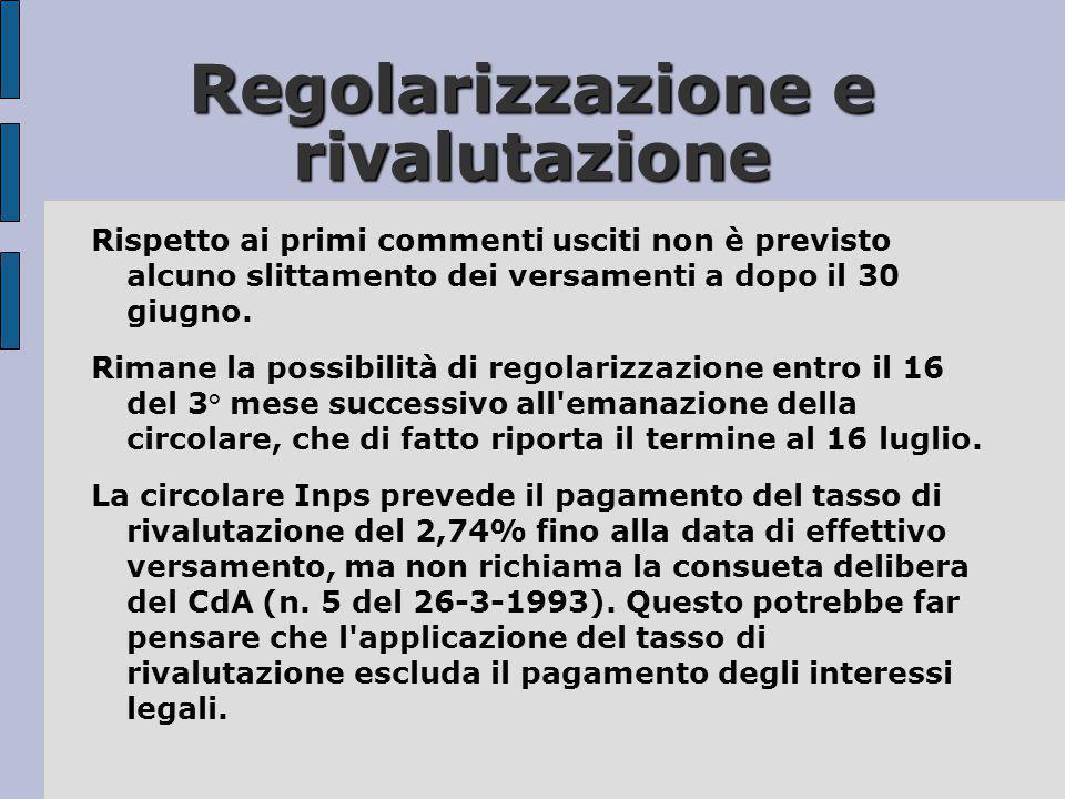 Regolarizzazione e rivalutazione