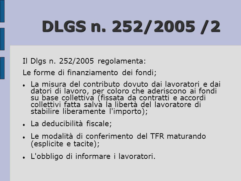 DLGS n. 252/2005 /2 Il Dlgs n. 252/2005 regolamenta: