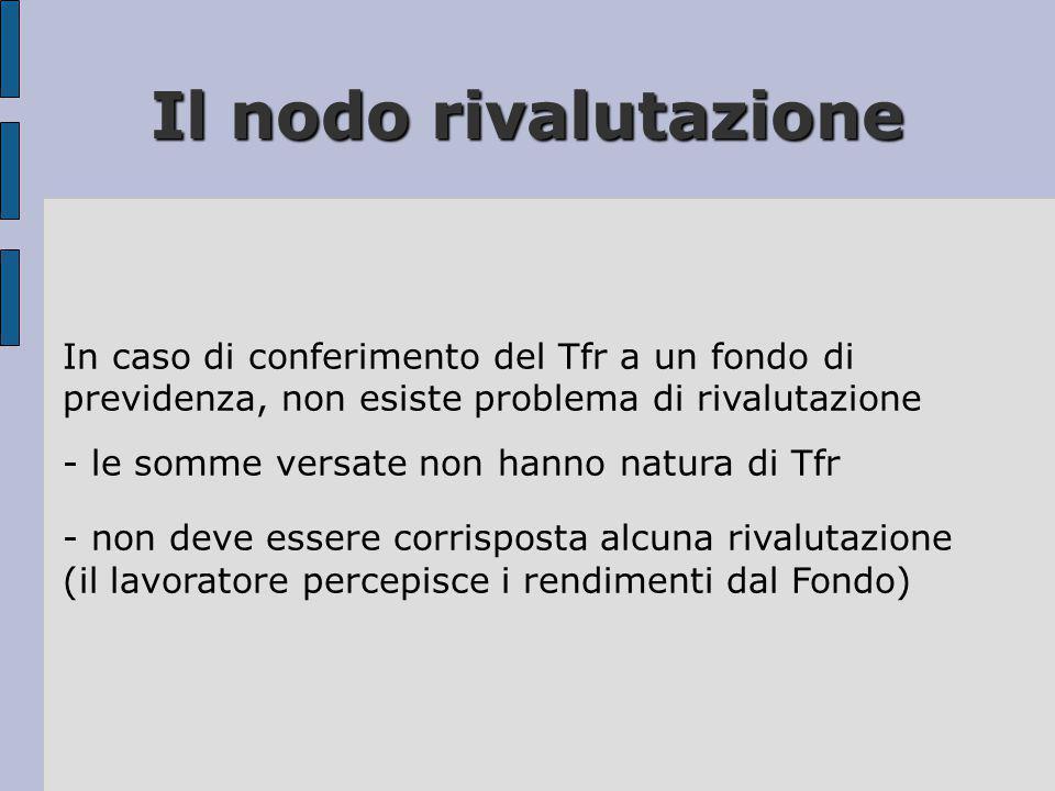 Il nodo rivalutazione In caso di conferimento del Tfr a un fondo di previdenza, non esiste problema di rivalutazione.