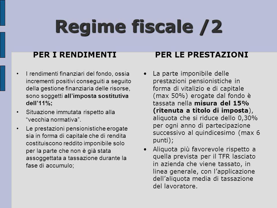 Regime fiscale /2 PER I RENDIMENTI PER LE PRESTAZIONI