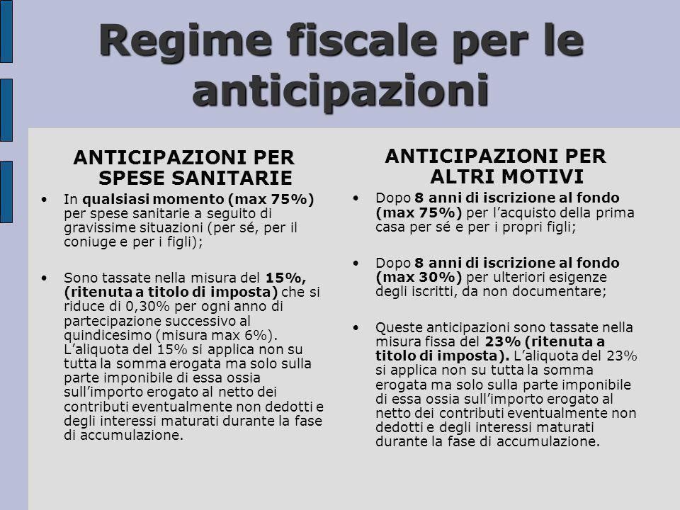 Regime fiscale per le anticipazioni