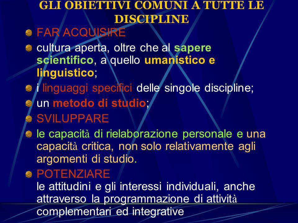 GLI OBIETTIVI COMUNI A TUTTE LE DISCIPLINE