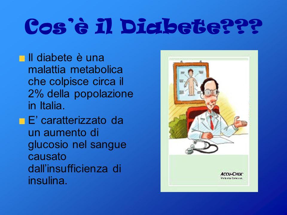 Cos'è il Diabete Il diabete è una malattia metabolica che colpisce circa il 2% della popolazione in Italia.