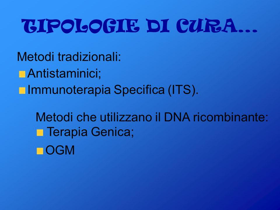 TIPOLOGIE DI CURA… Metodi tradizionali: Antistaminici;