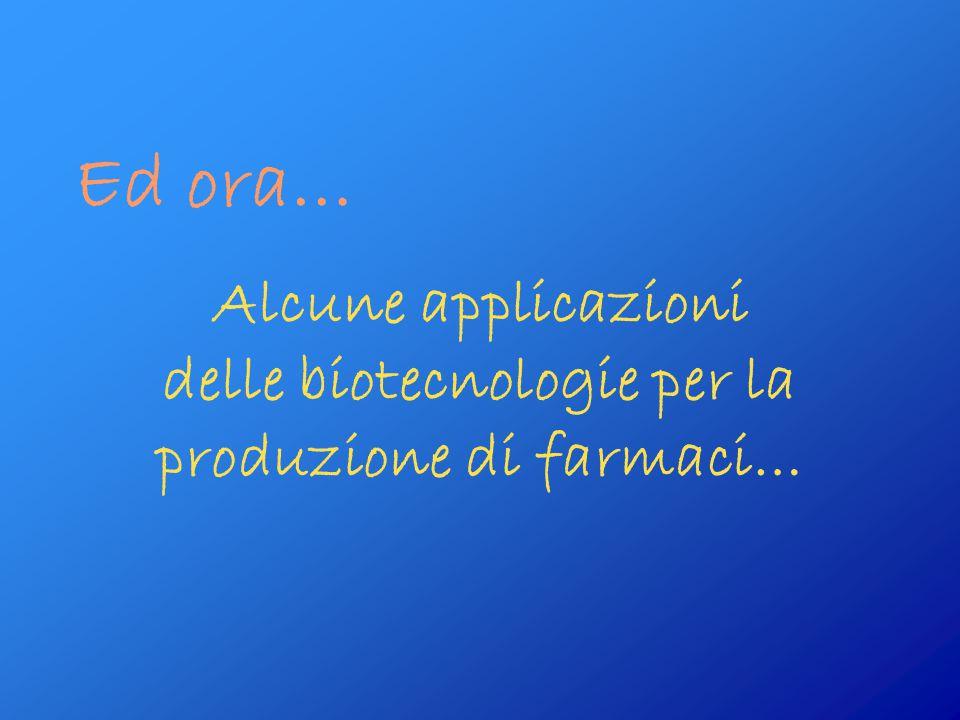 Alcune applicazioni delle biotecnologie per la produzione di farmaci…