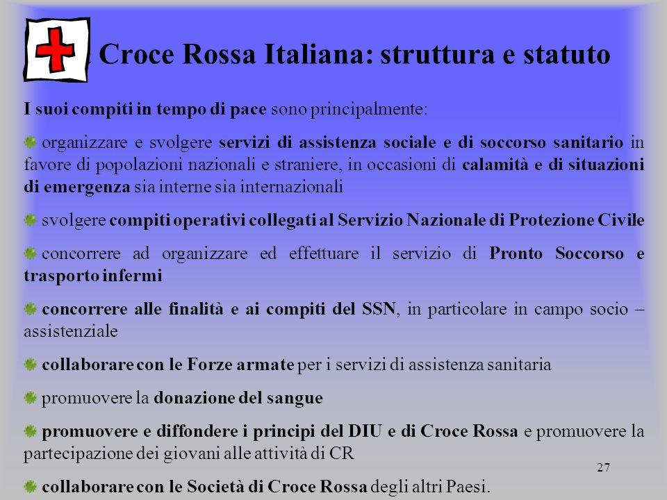 La Croce Rossa Italiana: struttura e statuto