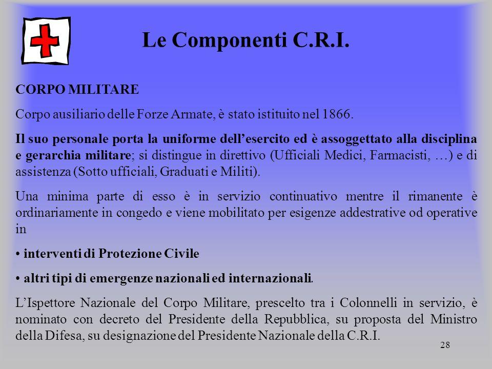 Le Componenti C.R.I. CORPO MILITARE
