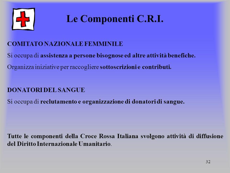 Le Componenti C.R.I. COMITATO NAZIONALE FEMMINILE