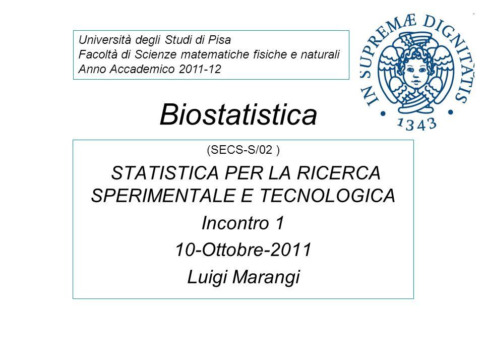 STATISTICA PER LA RICERCA SPERIMENTALE E TECNOLOGICA
