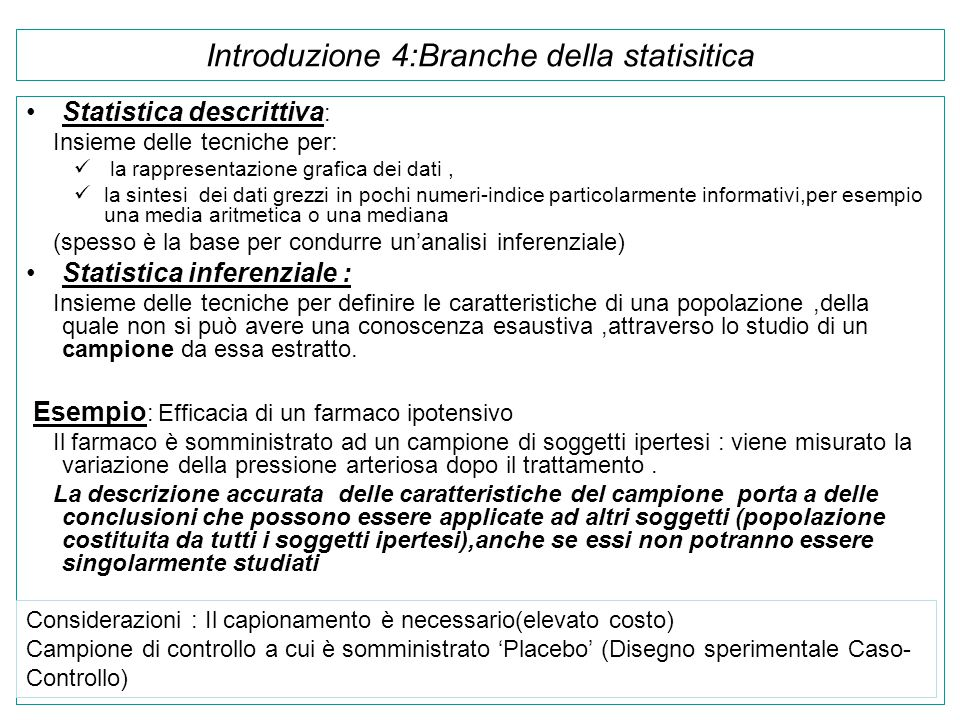 Introduzione 4:Branche della statisitica