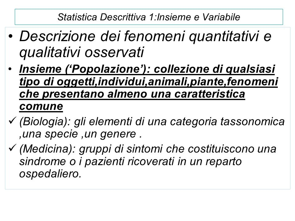 Statistica Descrittiva 1:Insieme e Variabile