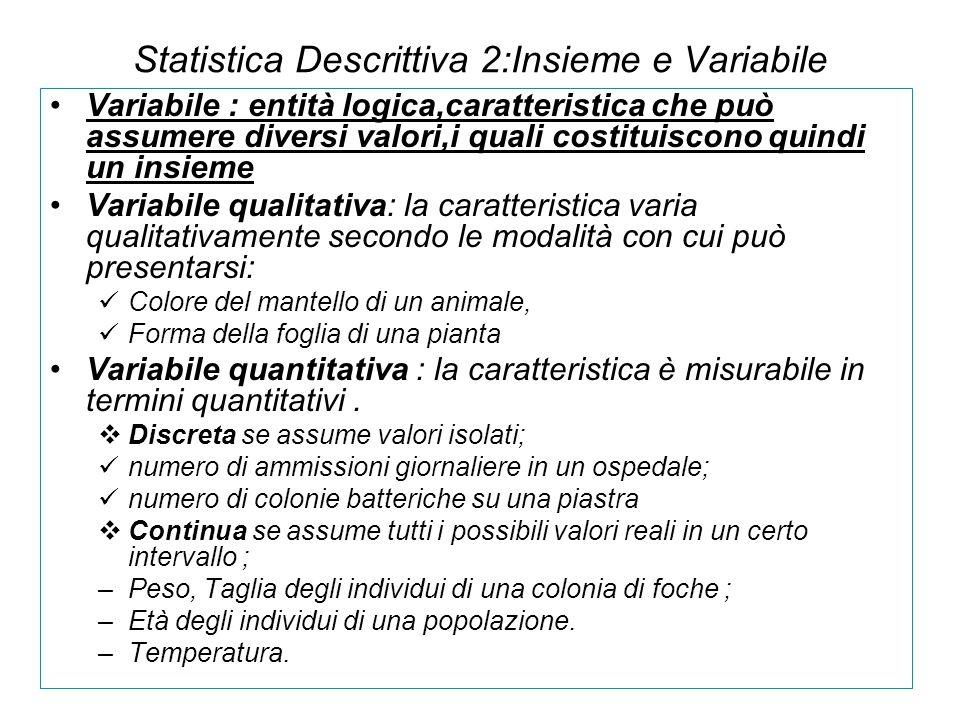 Statistica Descrittiva 2:Insieme e Variabile