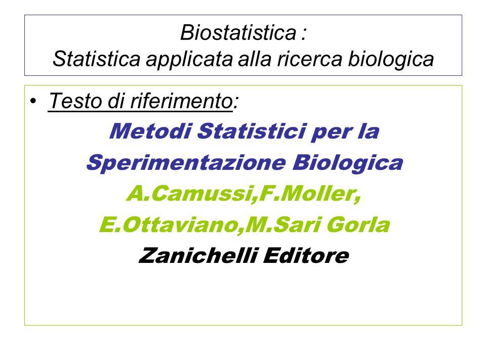 Biostatistica : Statistica applicata alla ricerca biologica
