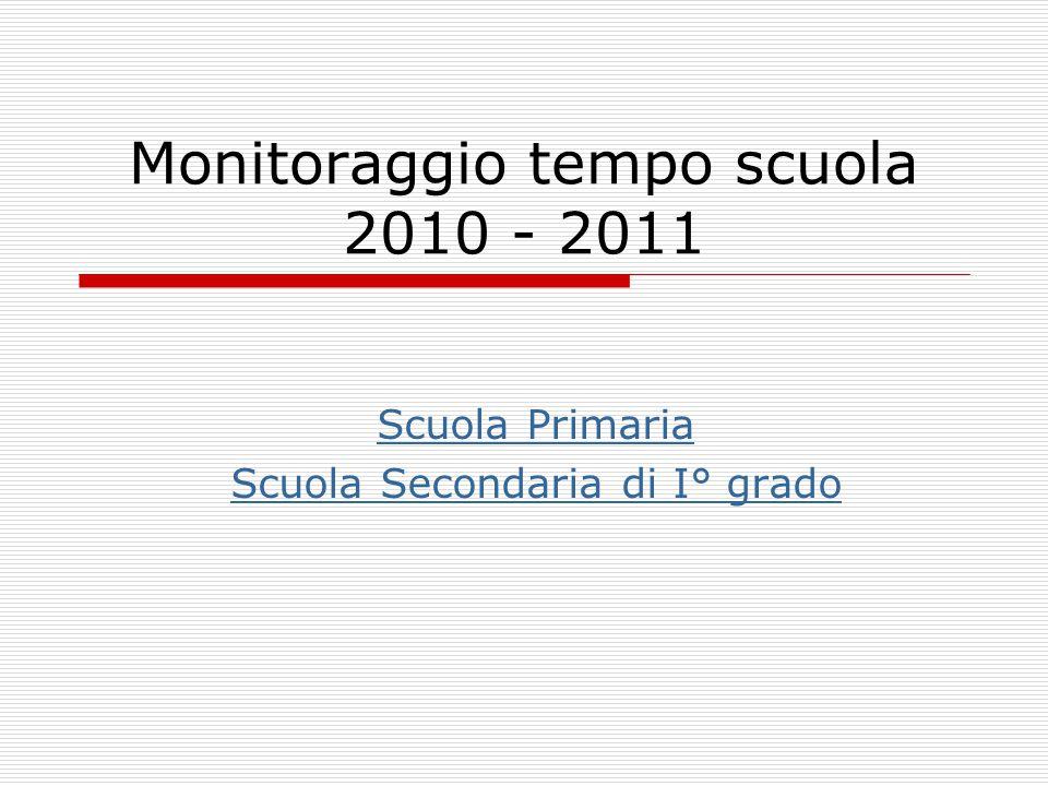 Monitoraggio tempo scuola 2010 - 2011