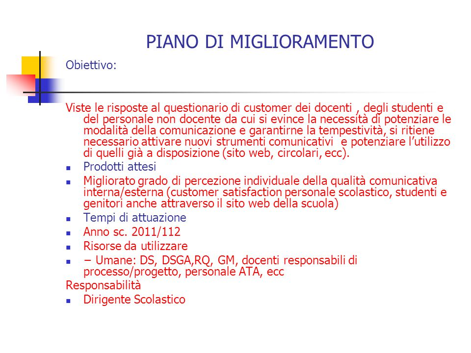 PIANO DI MIGLIORAMENTO