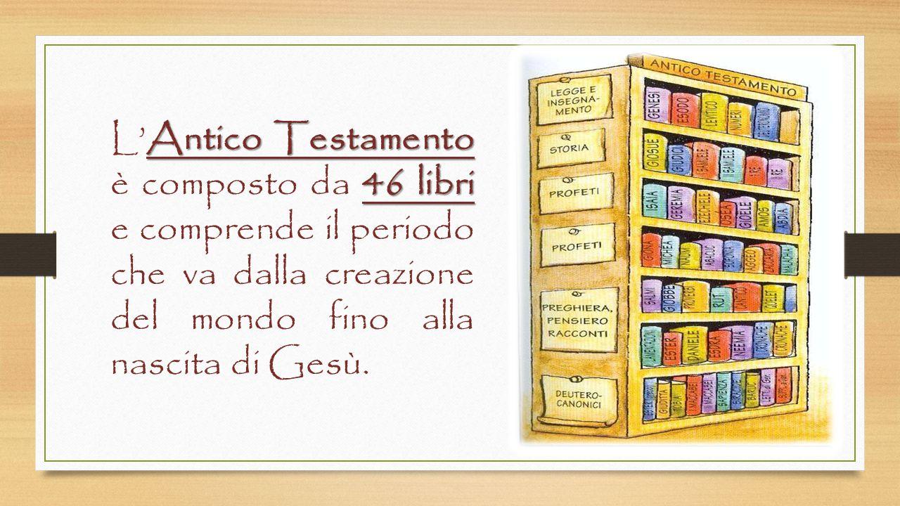 L'Antico Testamento è composto da 46 libri e comprende il periodo che va dalla creazione del mondo fino alla nascita di Gesù.