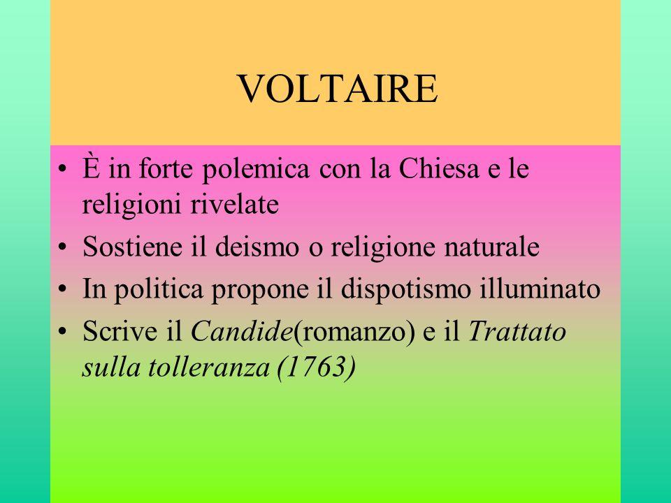 VOLTAIRE È in forte polemica con la Chiesa e le religioni rivelate