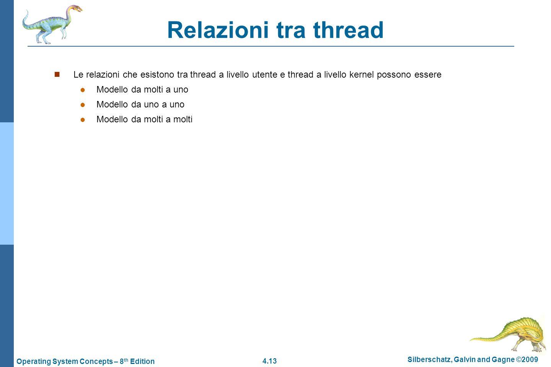 Relazioni tra thread Le relazioni che esistono tra thread a livello utente e thread a livello kernel possono essere.
