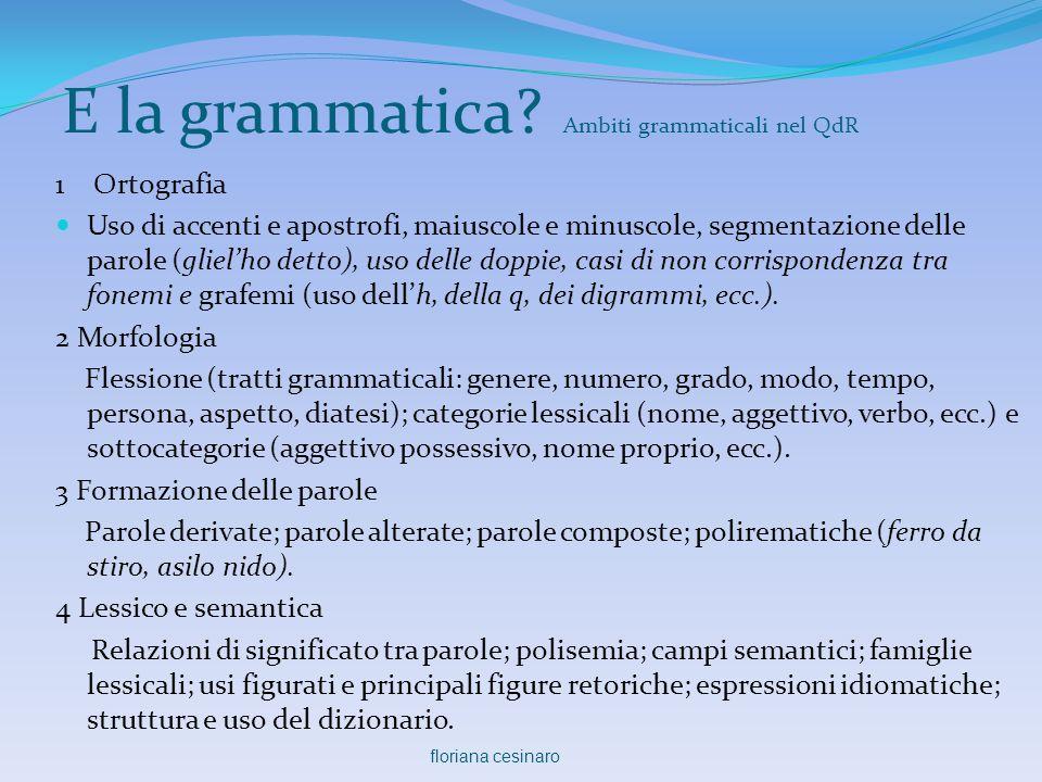 E la grammatica Ambiti grammaticali nel QdR
