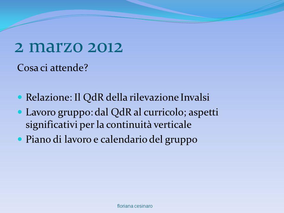 2 marzo 2012 Cosa ci attende Relazione: Il QdR della rilevazione Invalsi.