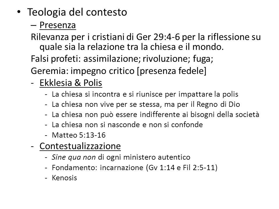 Teologia del contesto Presenza