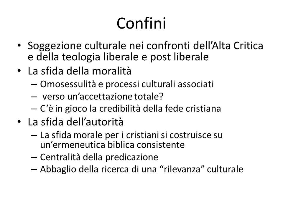 Confini Soggezione culturale nei confronti dell'Alta Critica e della teologia liberale e post liberale.