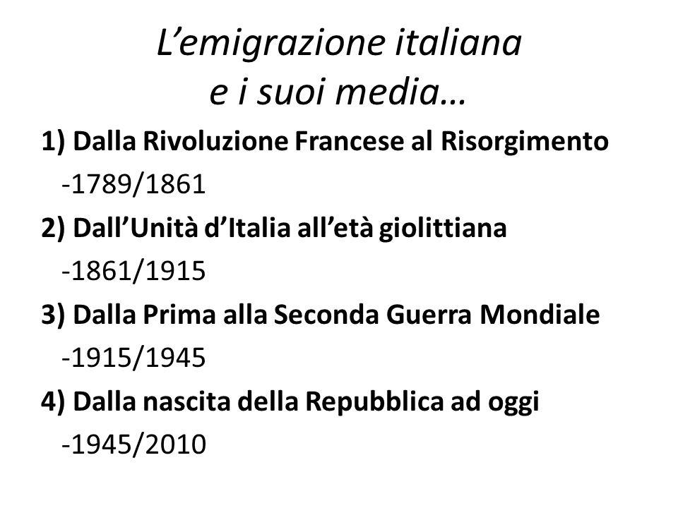 L'emigrazione italiana e i suoi media…