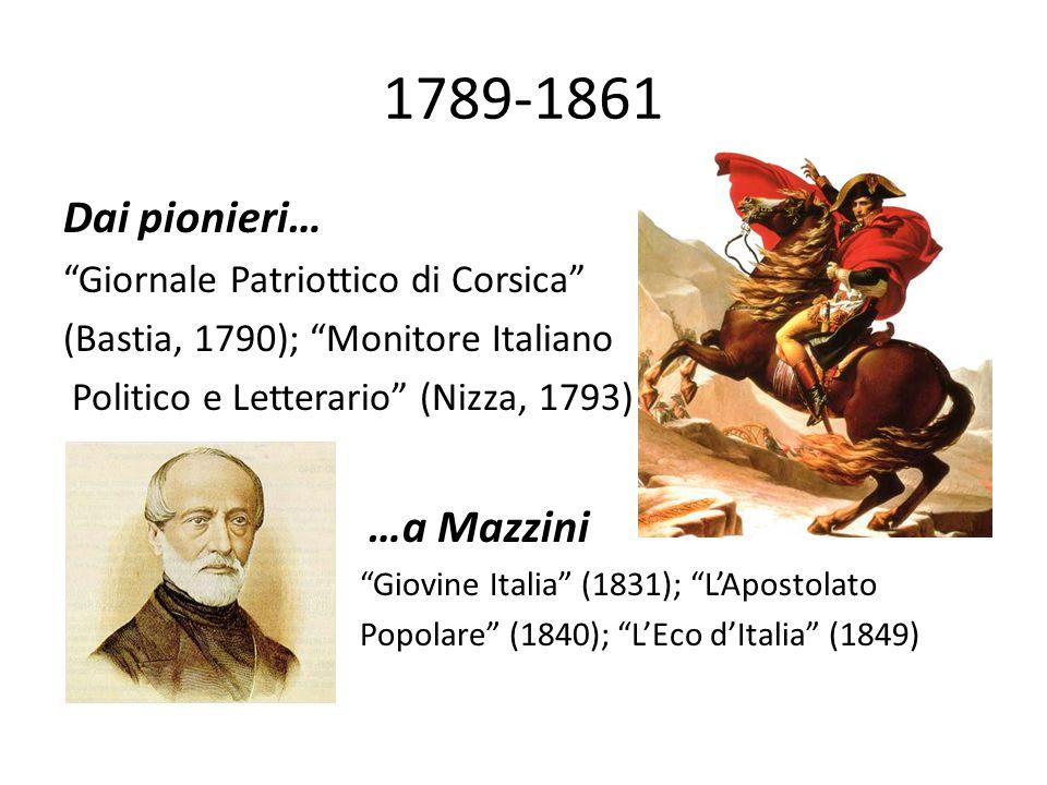 1789-1861 Dai pionieri… …a Mazzini Giornale Patriottico di Corsica