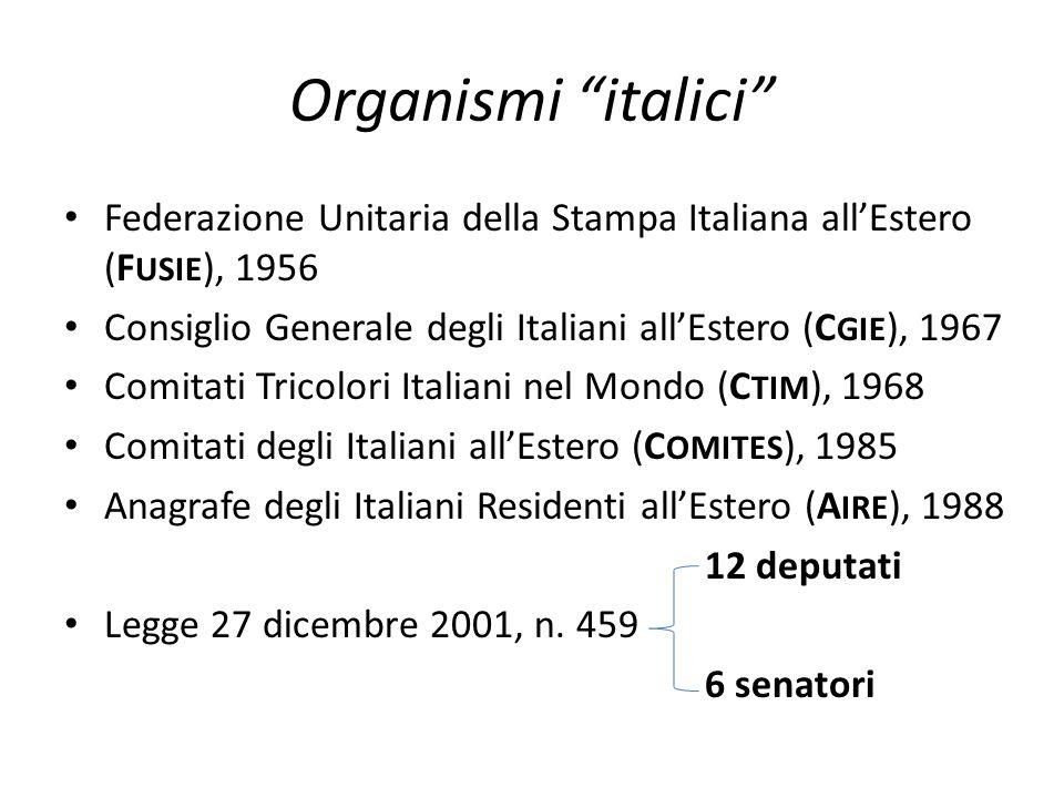 Organismi italici Federazione Unitaria della Stampa Italiana all'Estero (FUSIE), 1956. Consiglio Generale degli Italiani all'Estero (CGIE), 1967.