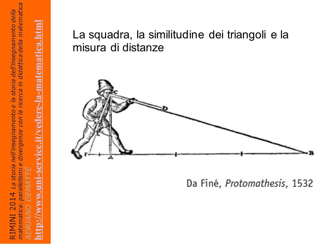 La squadra, la similitudine dei triangoli e la misura di distanze